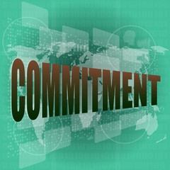 business concept: word commitment on digital touch screen