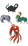 4 Chinese mythical creature gods (Shijin)