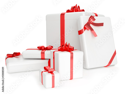 3D render of white gift boxes with yellow ribbons