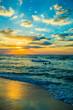 Dubai sea and beach, beautiful sunset at the beach