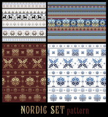 Nordic Traditional Knitted Ornamental Multicolor Striped Pattern
