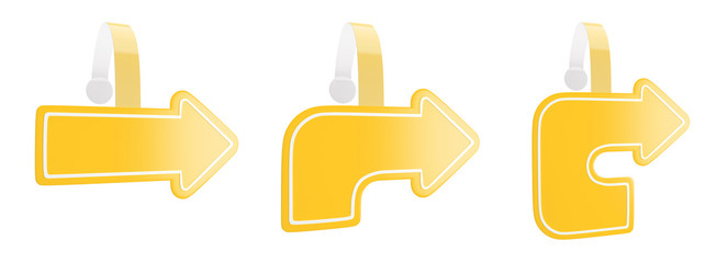 3d render of promotional wobbler as a symbol of the yellow arrow