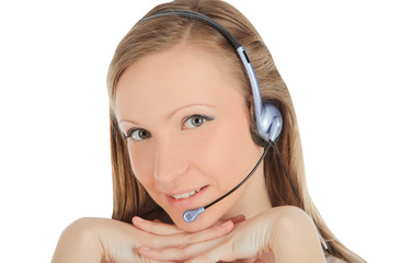 Portrait of a successful young female call centre employee weari
