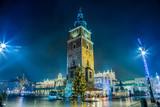Polska, Kraków. Rynek nocą.