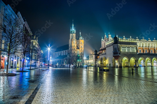 Poland, Krakow. Market Square at night.
