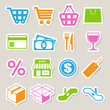 Shopping sticker icons set.