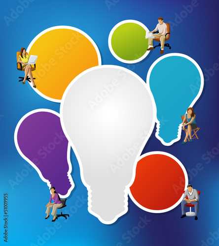 business people on chairs with light bulb ideas