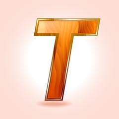 Alphabet wooden, letter T. Vector