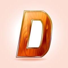 Alphabet wooden, letter D. Vector