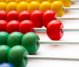 Close up of wooden abacus - selective focus