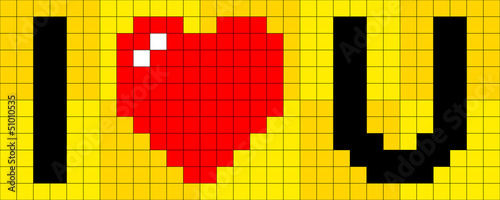 Papiers peints Pixel Pixel I heart U