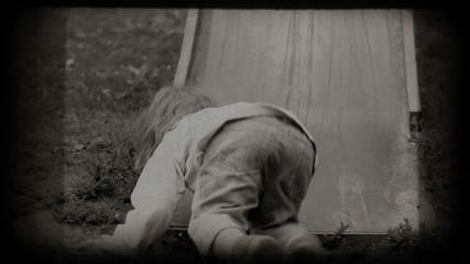 Children spending time in playground slide. Vintage 8 mm footage