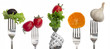 Diet concept, snack of vegetables and fruits on forks