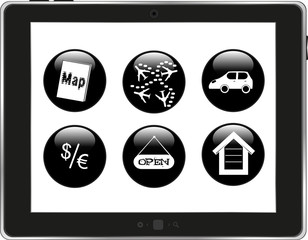 Set of home icons on tablet pc screen