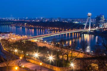 New Futuristic Bridge in Bratislava at Twilight