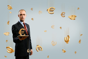 man holding tablet with euro symbol