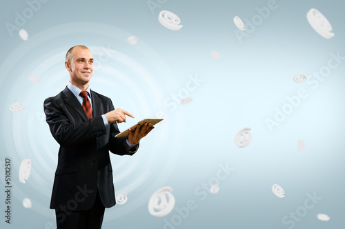 business man holding a table