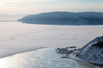 Siberia, lake Baikal, evening, the source of the river Angara