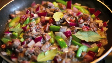 wok stir fry with beef and vegetable