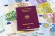 canvas print picture - Reisekosten: Geld und Reisepass