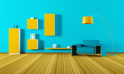 Interior of living room with armchair 3d render