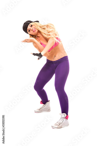 Female Dancer over white background