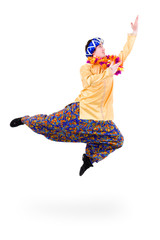 man jumping with pointing gesture