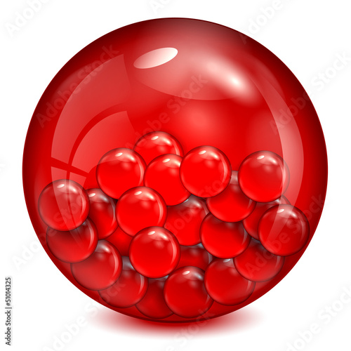 glass ball of  red color with little balls inwardly