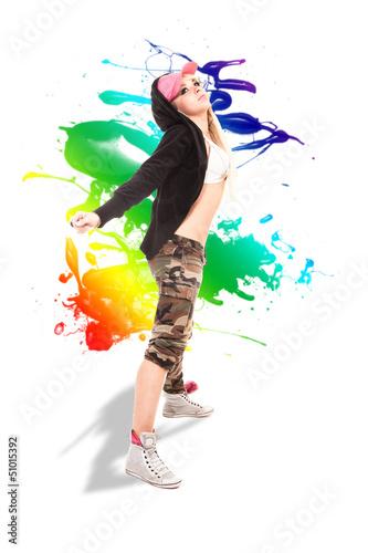 Female Dancer over white background with splash