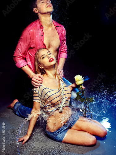 Couple  under  water drop.