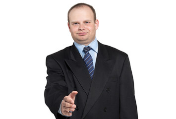 Businessman gives his hand to say hello