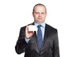 A man holding a business card