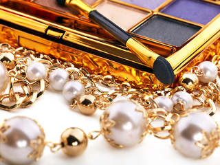 Decorative cosmetics with eyeshadow .