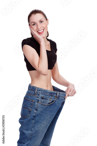 Girl in big jeans