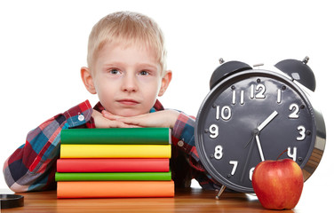 Child and clock, time concept
