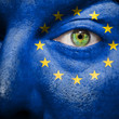 Flag painted on face  to show Europe support