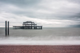 West Pier at Brighton with beach