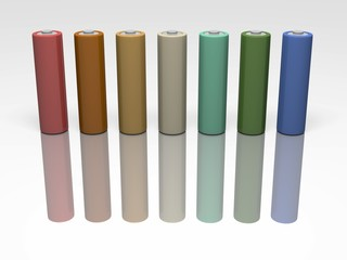 3d render of coloured AA batteries with reflection