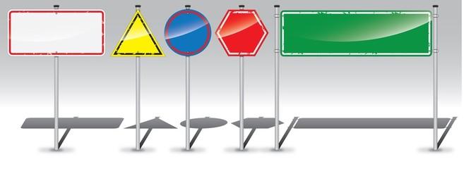 Detailed road sign labels set
