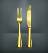 Table knife and fork, gold