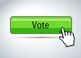 Vote button with mouse hand cursor symbol