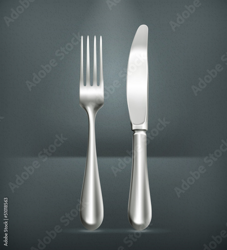 Table knife and fork, silver