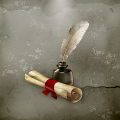 Ancient scroll and feather, old style