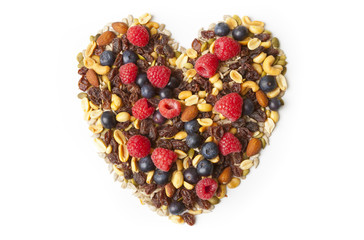 Heart Shaped Healthy Nuts and Berries