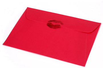 Dark pink envelope with kiss