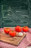 Red tomato and garlic
