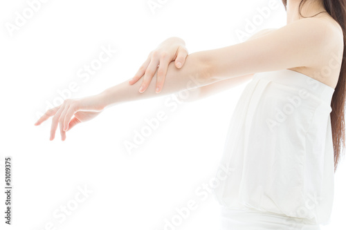 Beautiful young woman hands on white background
