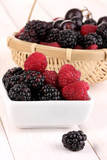 Ripe raspberries and brambles on wooden table