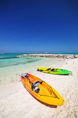 kayaks and the beautiful  beach