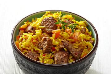 Rice with meat and carrot